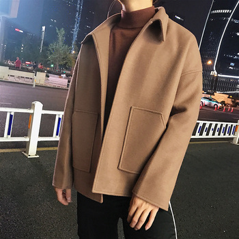 2019 Men's Short Woolen Blends Loose Windbreaker Cashmere Wool Trench Pocket Decoration Jackets Black/camel Color Coats M-2XL