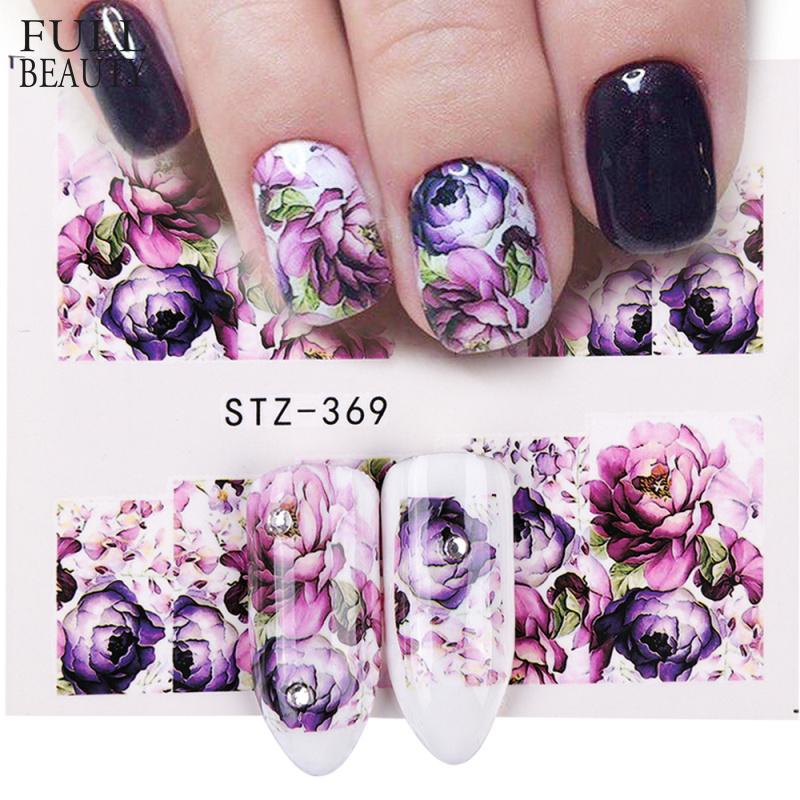 1pcs Nail Art Water Decals Flower Rose Purples Designs For Women Full Cover Sticker Decorations Sticker Summer Tips STZ369-509