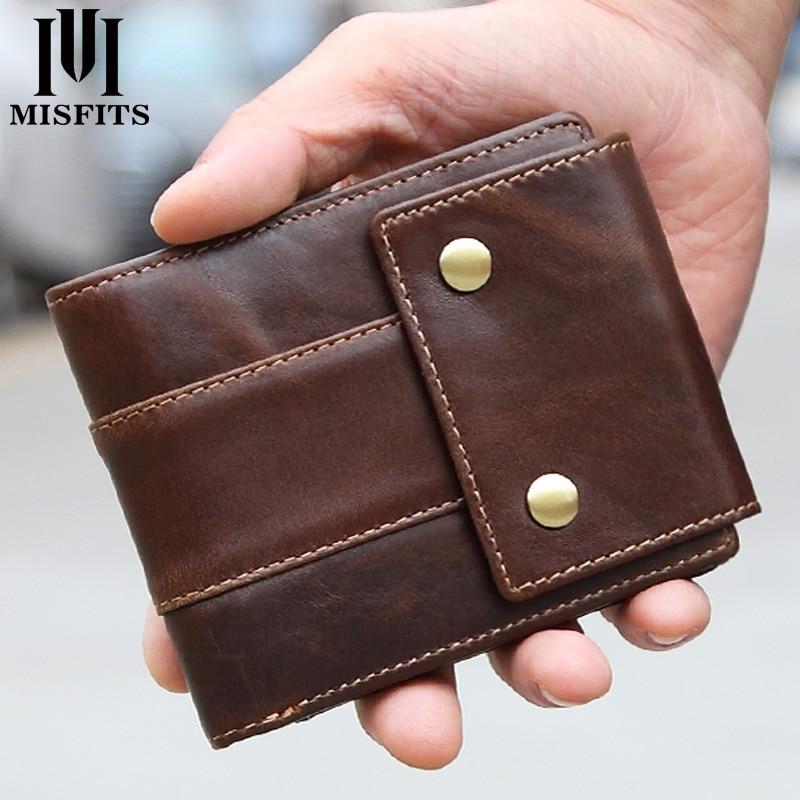 MISFITS Luxury Brand Men Wallets Genuine Leather Purse Mens Money Bag Card Holder Wallet Man Leather Coin Pocket Wallet Male