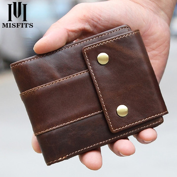MISFITS Luxury Brand Men Wallets Genuine Leather Purse Mens Money Bag Card Holder Wallet Man Leather Coin Pocket Wallet Male 2017 hot fashion men wallet genuine leather multi bit money clip short card luxury brand clutch purse bag man vintage clutches