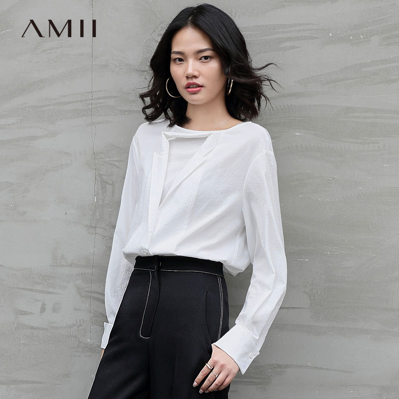 Amii Minimalist Double Collar Blouse Autumn Women Solid Loose Round Neck Elegant Female Shirt Tops 11870162