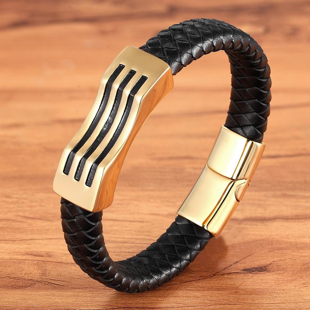 Special Geometric Pattern Stainless Steel Accessories Stripe Design Combination Men's Leather Black Bracelet Commemorative Gift