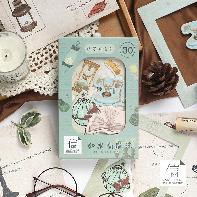 30 Pcs/Set If There's Magic Scene Series Postcard Special Greeting Cards DIY Journal Decoration Stat