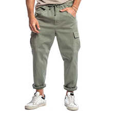 Man Pants Solid Loose Pocket Cargo Pants Straight Mid Waist Ankle Length Trousers For Man Male Casual Drawstring Trousers D30