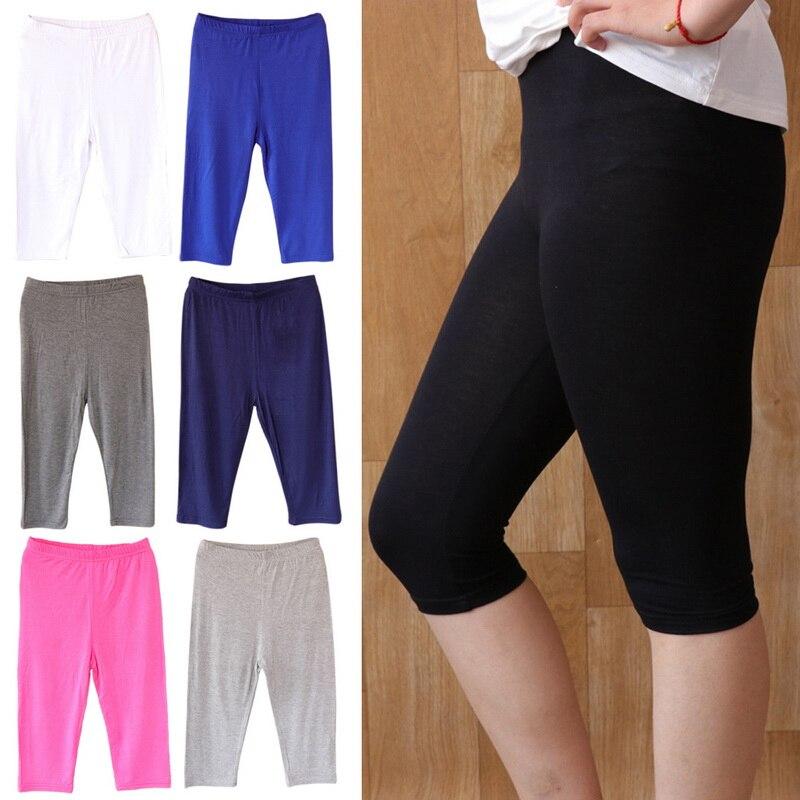 3PCS Women Thin Solid Color Modal Sports Trunks Breathbale Cropped  Elastic Trousers Leggings  Elastic Short Pant New