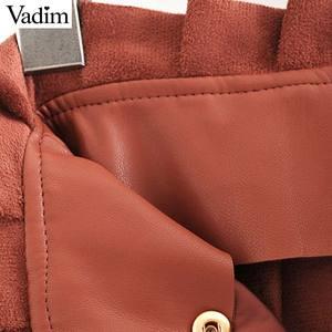 Image 5 - Vadim ผู้หญิง Chic PU หนังกระโปรง ruffles Bow Tie sashes กระเป๋าซิปจีบหญิง Basic MINI กระโปรง mujer BA779
