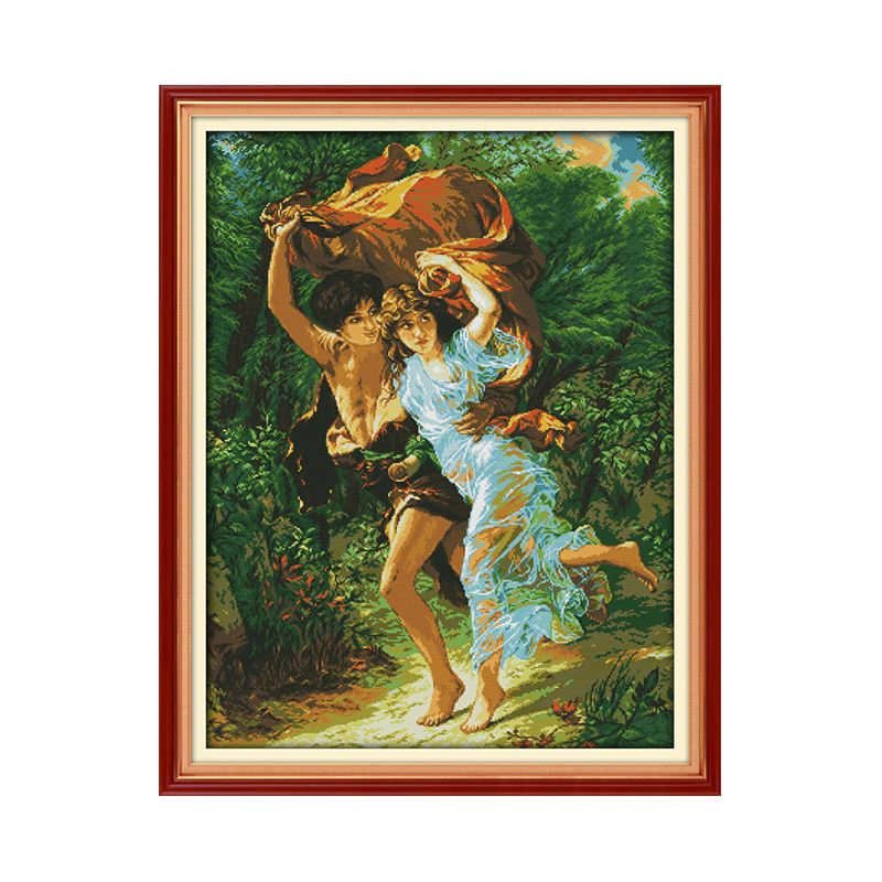 Couple Stitch DMC Cross Stitch Kit Beautiful Spring Rainy Couple Running Paintings Hand Embroidered Ornaments Aida Fabric Canvas