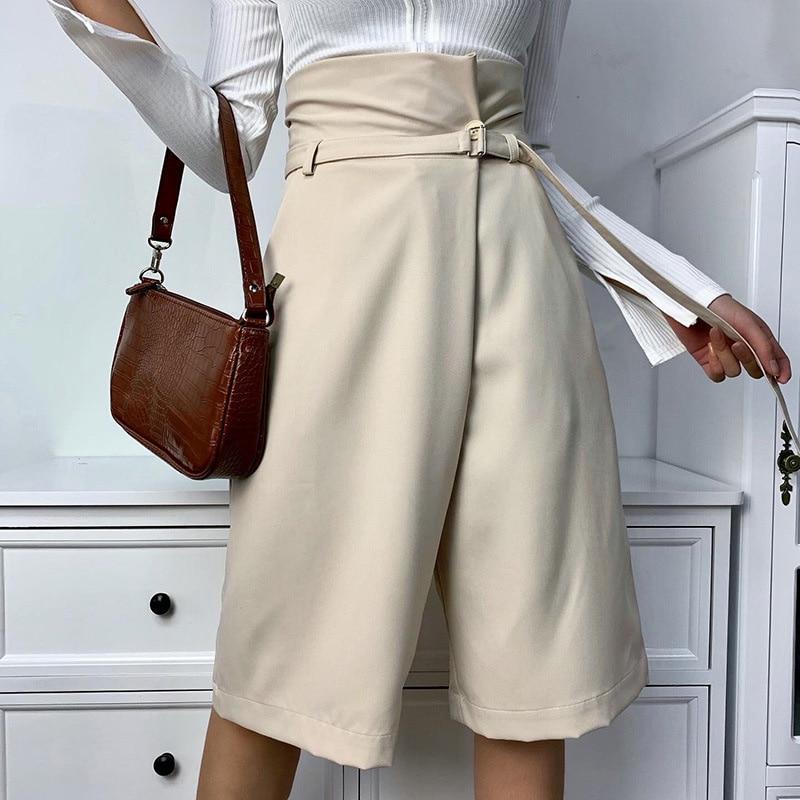 OL Capris Summer Women's Knee-length Pants High Waist Wide Leg Elegant Female Trousers 2020 Fashion Casual Office Lady Breeches