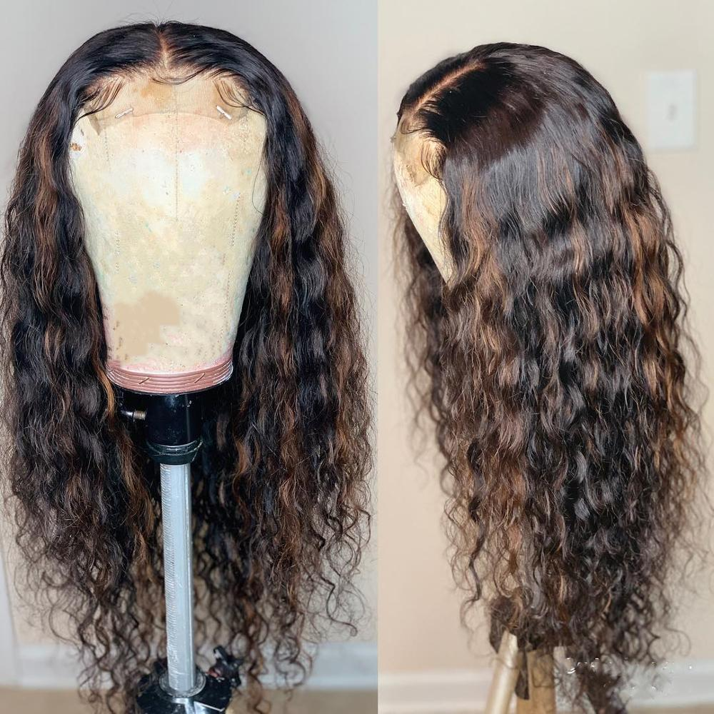 Ombre Highlights Color Lace Front Wig Deep Part 1b/30 Glueless Human Hair Wigs Brazilian Curly Remy Hair 13x4/13x6 QEarl