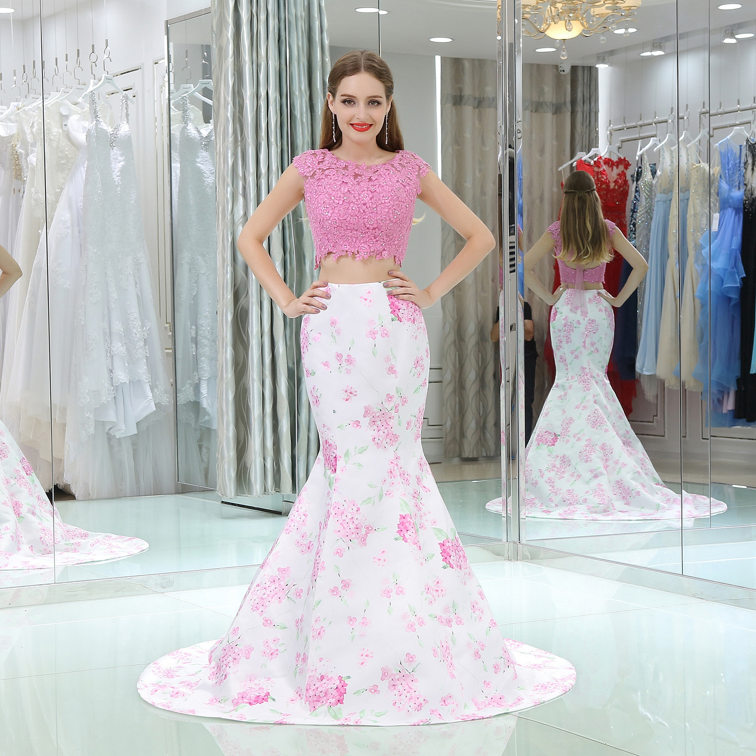 Custom Made Two-piece Suit Crop Top Mermaind Sweep Train O Neck Cap Sleeve With Crystal Pattern Back Lace Up Evening Dresses