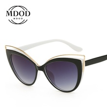 2020 Fashion Vintage Cat Eye Women Sunglasses Brand Designer Metal Frame Mirror