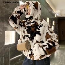 Fur Coat Jacket Cow-Leopard Furry Women Winter Outerwear Short Hooded Hairy Long-Sleeve