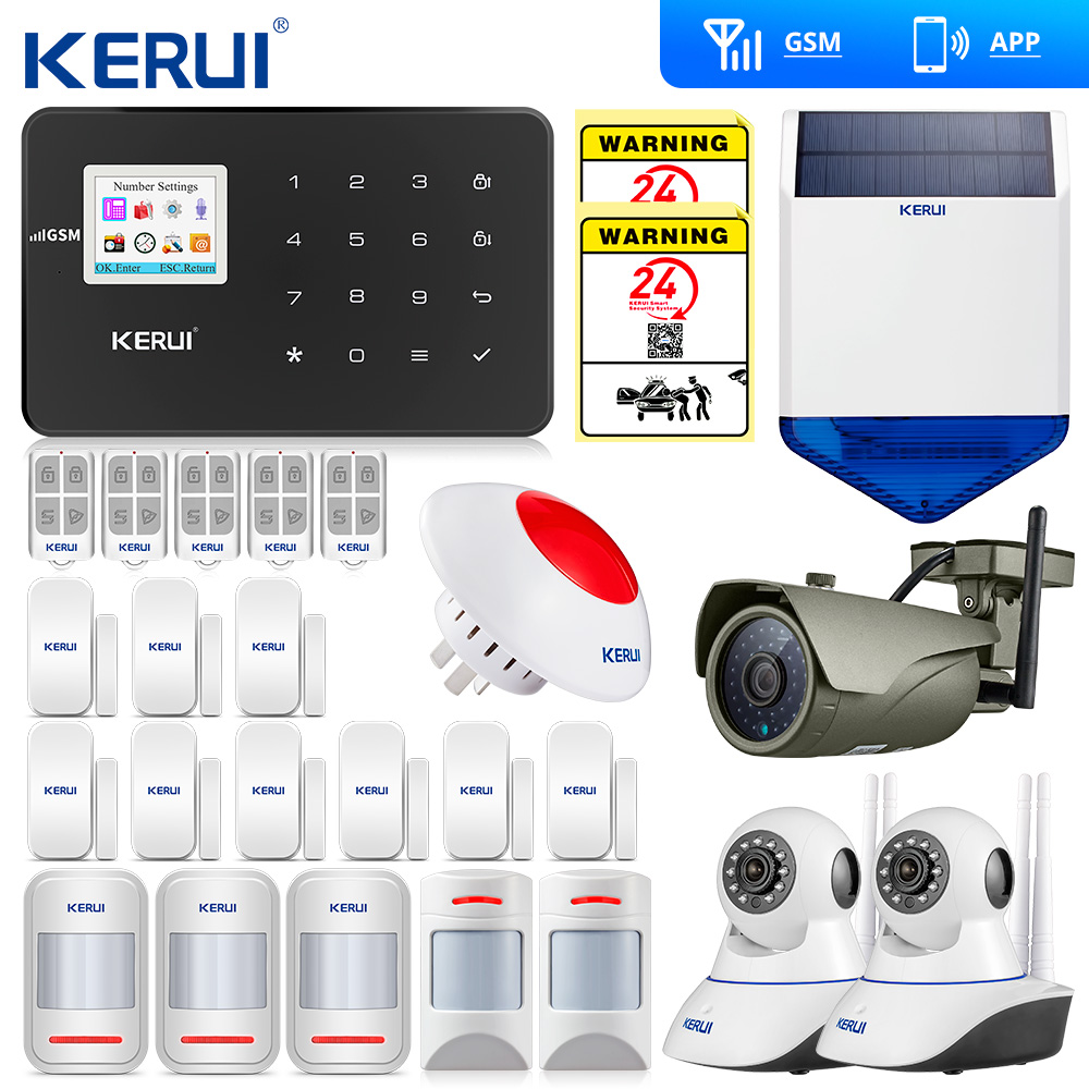 Kerui  G18 GSM Alarm System Android IOS APP Touch Keypad Smart Home Burglar Alarm  System Smart Home Wifi Camera Flash Siren