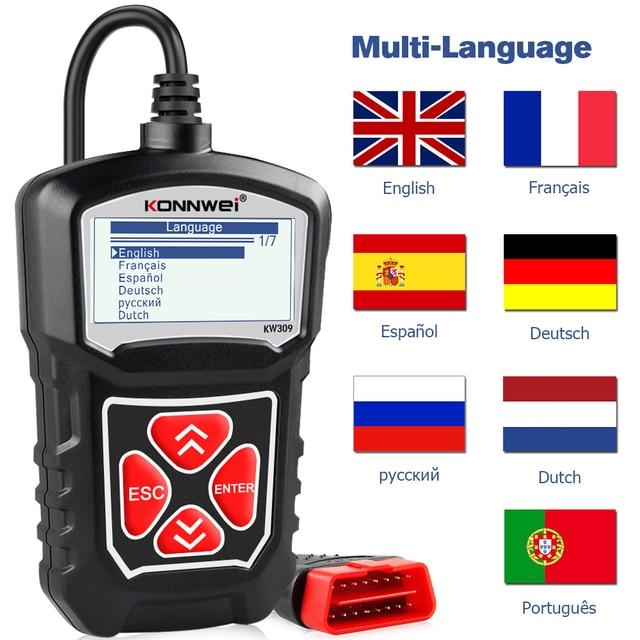 Konnwei KW309 OBD2 Engine Code Reader Automotive Auto Diagnostische Hulpmiddelen Scanner Apparaat Eobd Autoscanner Beter dan ELM327
