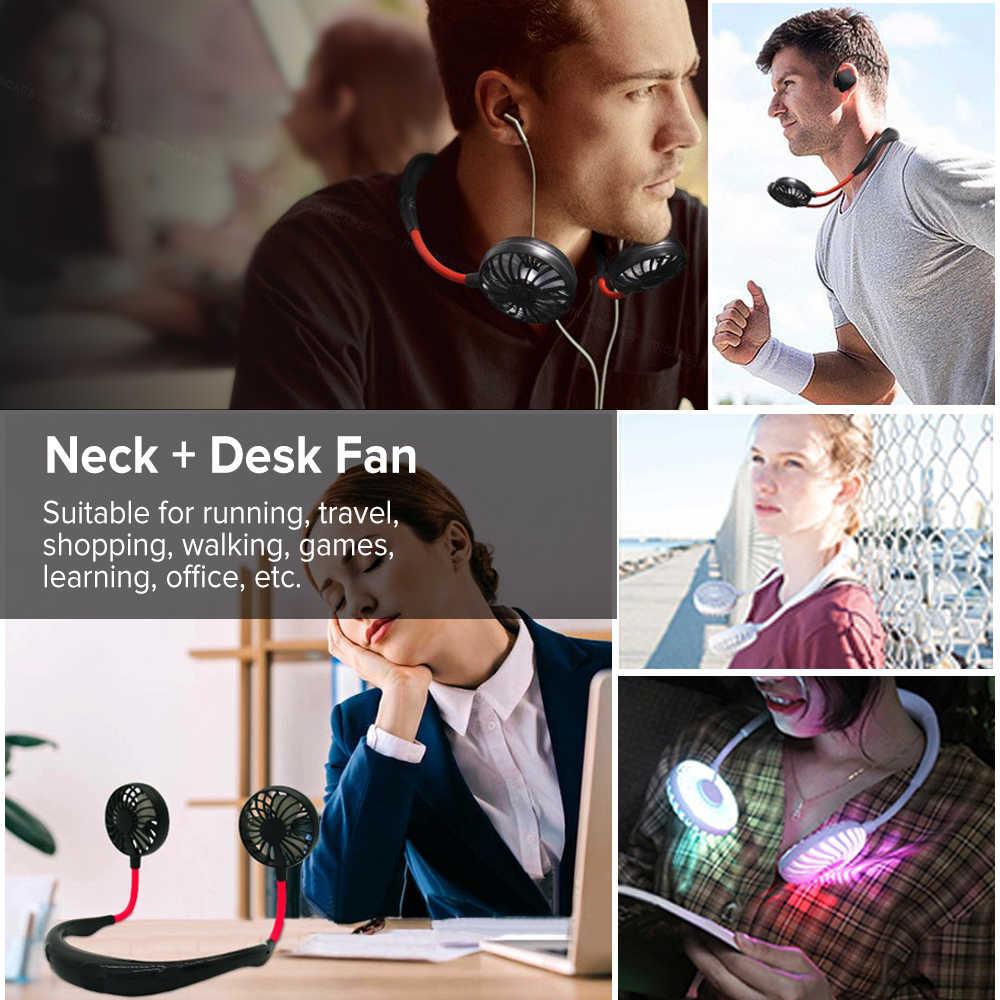 Mini taşınabilir asılı boyun bandı Fan USB şarj edilebilir çift fanlar HAVA SOĞUTUCU kremi renkli Aroma elektrikli masa fanı oda için