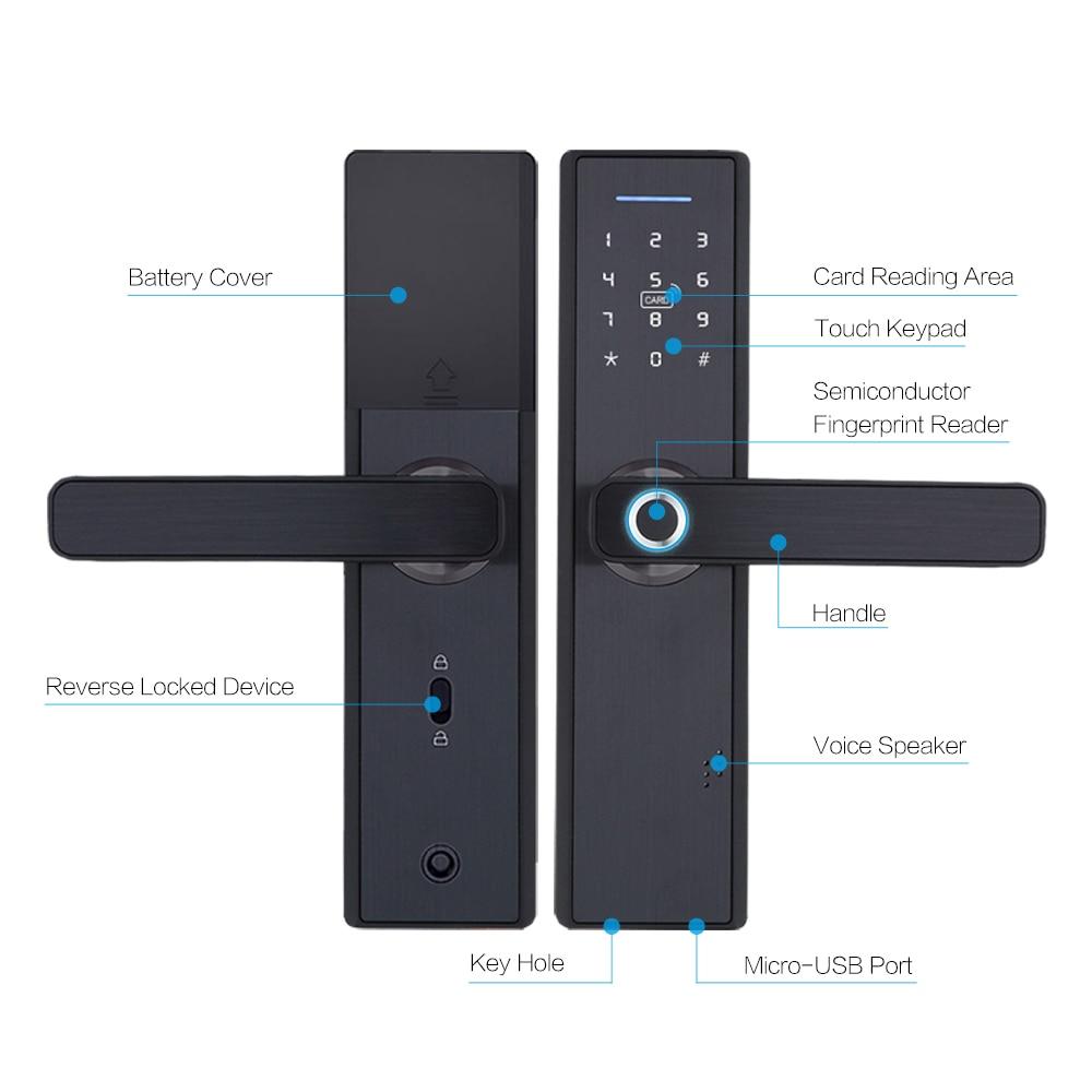 Tuya Biometric Fingerprint Lock Security Intelligent Smart Lock With WiFi APP Password RFID Unlock Door Lock Tuya Biometric Fingerprint Lock, Security Intelligent Smart Lock With WiFi APP Password RFID Unlock,Door Lock Electronic Hotels