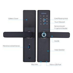Image 3 - Tuya blocco biometrico dellimpronta digitale, blocco intelligente intelligente di sicurezza con sblocco RFID Password APP WiFi, serratura elettronica hotel