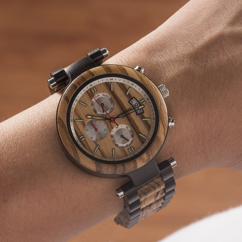BOBO BIRD Men Watch Metal And Wooden Luminous Quartz Movement Sport Wristwatch Accept Customize Relogio Masculino Dropshipping