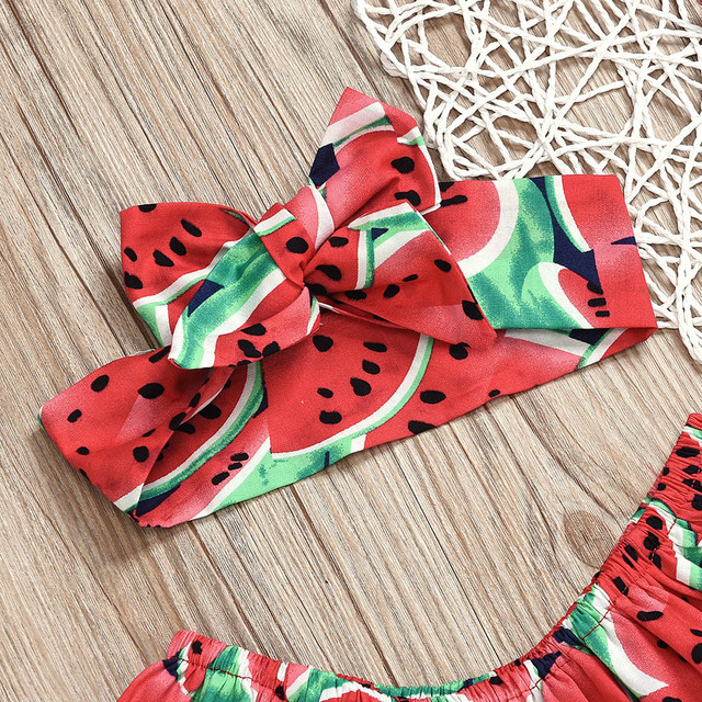 Newborn Infant Baby Rompers Boys Girls Clothes Watermelon Print Long Sleeve Jumpsuit +Hairband Outfits Set Toddler Baby Onesie 3