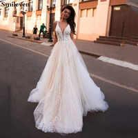 Smileven une ligne robe De mariée paillettes Boho robes De mariée col en V arabe robe De mariée Noiva pour fille sur mesure