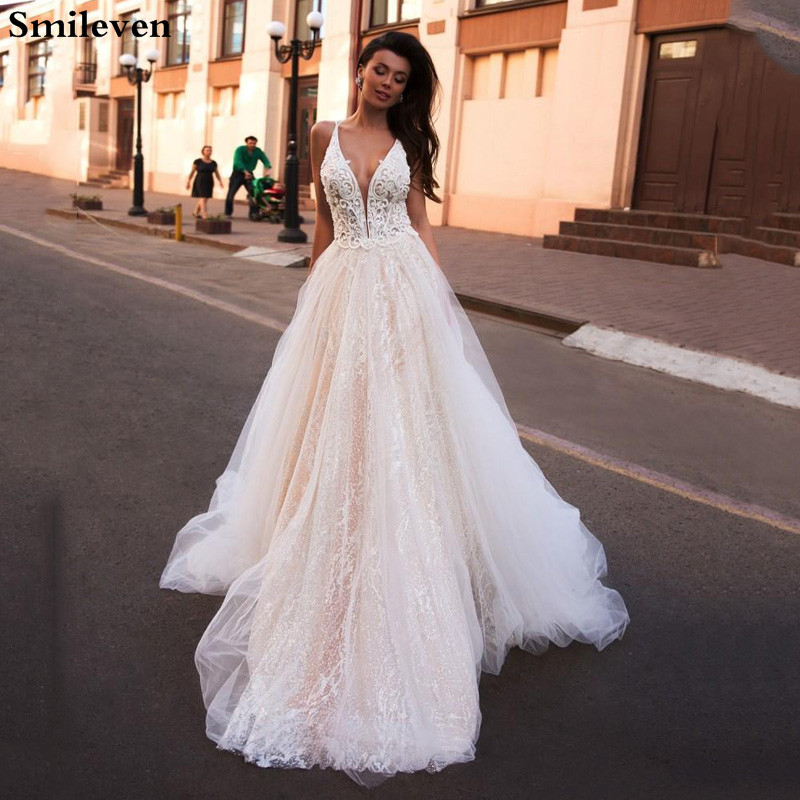 Smileven A Line Wedding Dress Glitter Boho Bridal Dresses V Neck Arabic Vestido De Noiva Wedding Gowns For Girl Custom Made