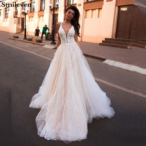 Image 1 - Smileven EINE Linie Hochzeit Kleid Glitter Boho Brautkleider V ausschnitt arabisch Vestido De Noiva Hochzeit Kleider Für Mädchen Nach maß