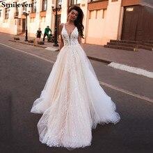 Smileven Vestido De novia línea A, vestidos De novia estilo bohemio con purpurina, cuello en V, Vestido De novia árabe, vestidos De novia para niña hechos A medida