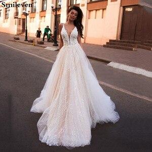 Image 1 - Smileven linia suknia ślubna brokat Boho ślubne suknie V Neck arabski Vestido De Noiva suknie ślubne dla dziewczyna klienta wykonane