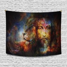 Blessed Jesus with A Lion in Cosimc Space Cotton Linen Tapestry Wall Art(China)