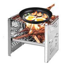 цена на Yooap new outdoor mini stainless steel folding barbecue grill camping barbecue wind wood fire carbon portable backpack stove