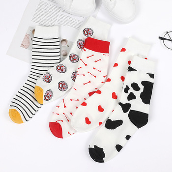 Cartoon Jacquard Breathable Cotton Socks Women Korean Style Harajuku Kawaii Sock Funny Stripe Cow Heart Grimace Cute Socken Sox