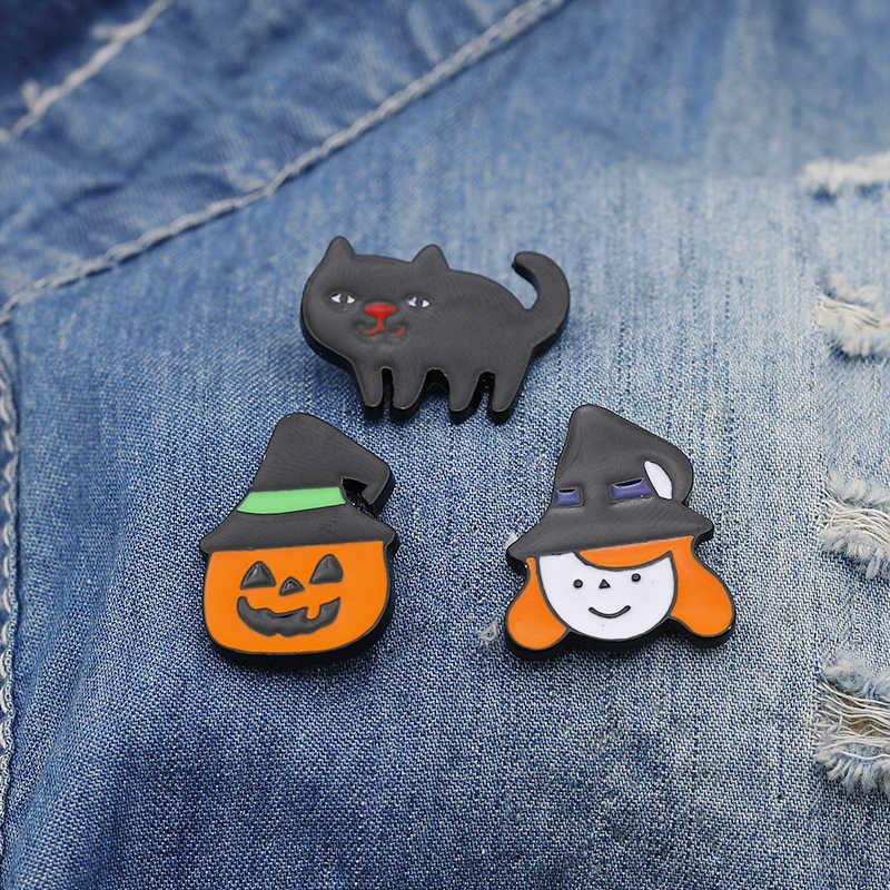 Lucu Lucu Labu Halloween Rakasa Penyihir Hantu Logam Bros Pin Wanita Pria Jeans Tas Tombol Perhiasan Aksesoris