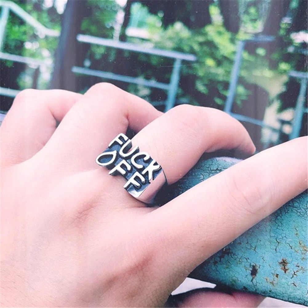Carta creativa anillo punk vintage mujeres hombres Cool gótico Biker dedo anillos joyería Rock hombres anillo letra anillos masculinos femeninos