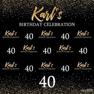 Image 2 - Sensfun siyah tema mutlu 40 doğum günü partisi zemin altın Glitter beyaz metin fotoğraf fotoğraf stüdyosu için arka planlar vinil