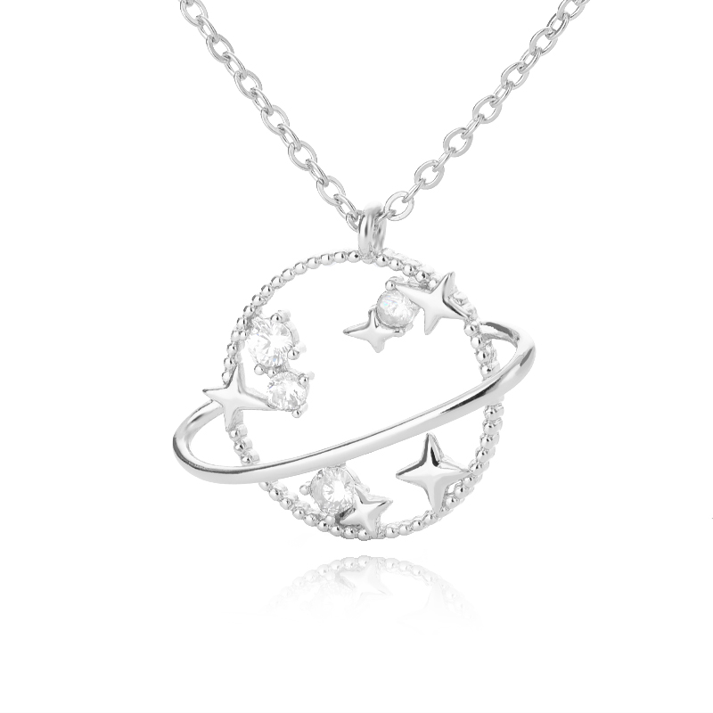 Planet Star Pendant Necklace For Women Gold Silver Color 6