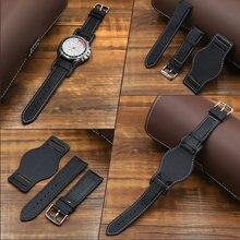 Ремешок для часов из мягкой натуральной кожи черный коричневый