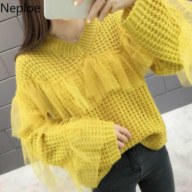 Neploe Korean Sweater Women Clothes Pullover Jumpers Patchwork Knit Long-Sleeve Ruffles