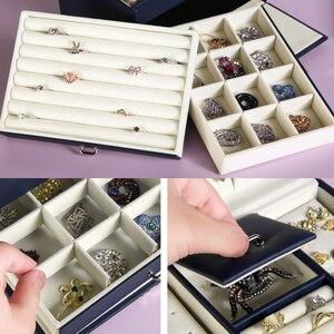 Image 3 - Шкатулка для ювелирных украшений, шкатулка для хранения ювелирных изделий из высококачественной кожи с 3 отделениями, 2020