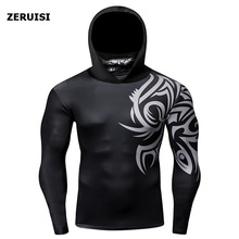 Tops Hooded Long-Sleeve Tights Compression t-Shirt with Scarf Fitness-Cycling Sportswear