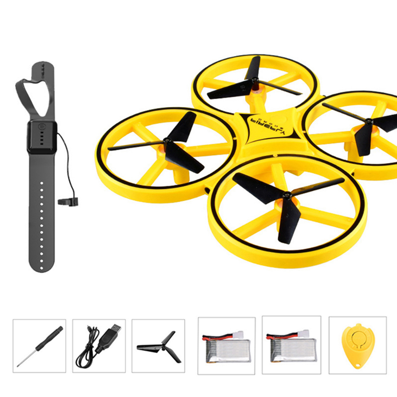 Mini Helicopter Induction Drone Smart Watch Hand Gesture Sensor Remote RC Aircraft UFO Flying Quadcopter Interactive Kids Toys (Mini Drone)