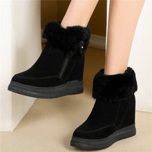 Women Rabbit Fur Shoes Genuine Leather Wedges Platform High Heel Snow Boots Slip On Warm Pumps  High Top Winter Punk Sneakers suede winter booties thick soled high quality platform boots chelsea faux fur sole top men slip on casual shoes genuine leather