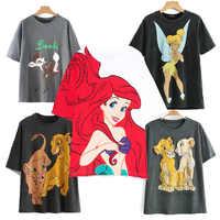2019 moda T Shirt O-neck kobiety odzież drukuj klasyczny król lew regularne koszule graficzna koszula Streetwear mickey Cotton Tee