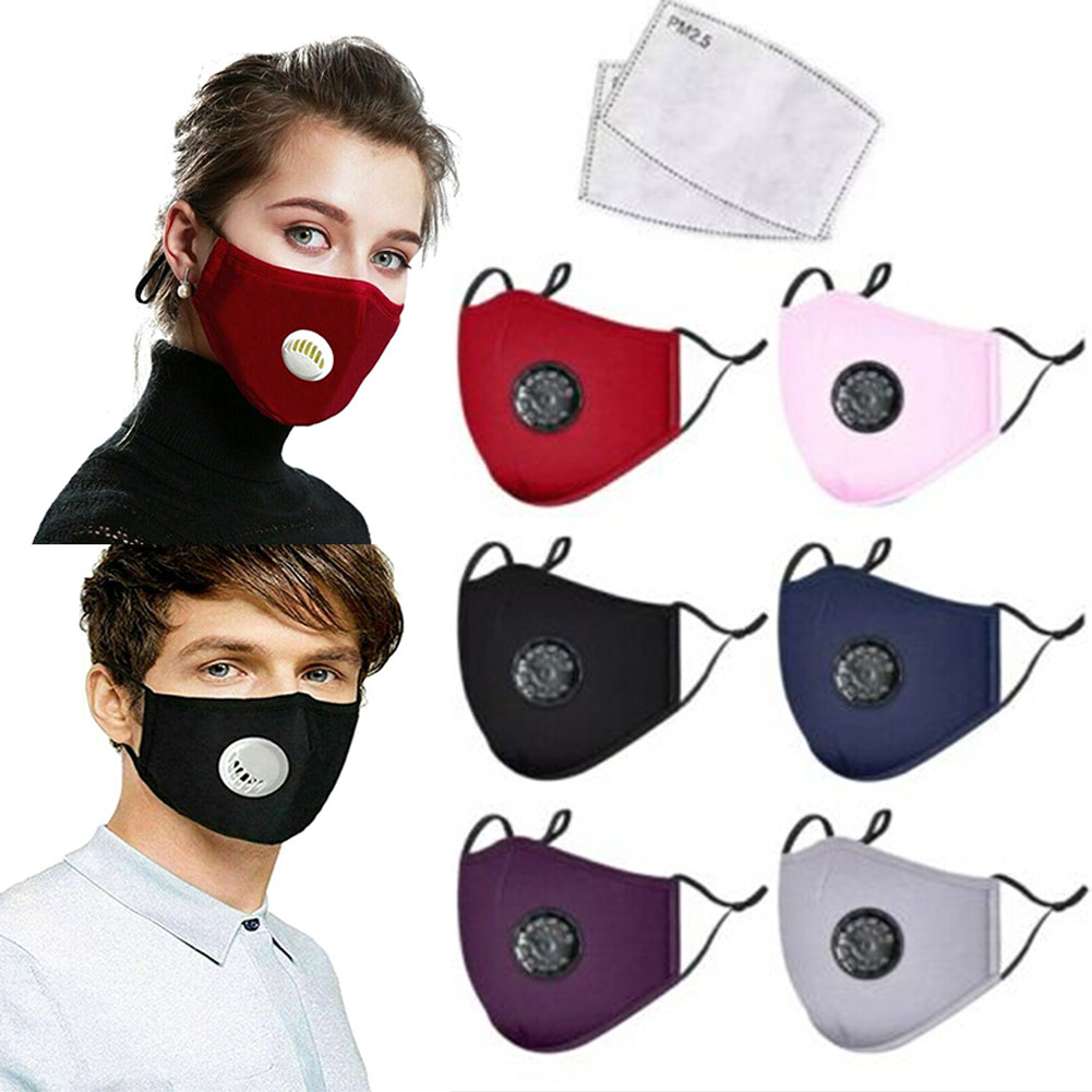 NEW 2020 Unisex Cotton Face Mask Activated Carbon Mask With Filter-Washable Reusable With Breathing Valve Dropshipping Hot Sale