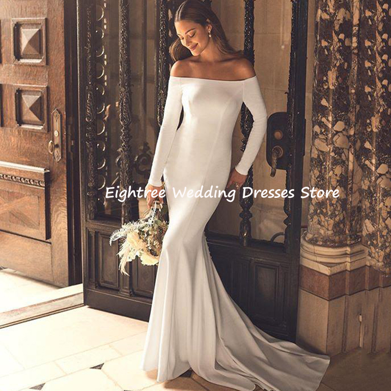 Eightree Off Shoulder Mermaid Wedding Dresses Long Sleeves Satin Wedding Gown Backless Simple Boho Bride Dress Vestido De Noiva