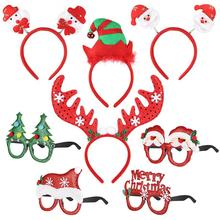 4pcs/Se Cute Christmas Headbands With 4PCS Eyeglasses Set Adorable Photo Booth Props For Kids Xmas Holiday Festival Party Favor