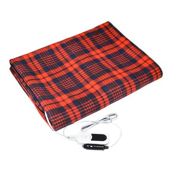 Automotive Electric Blankets Fleece Red Plaid 12V Heated Smart Multifunctional Travel Electric Car Blanket With High Low Temp