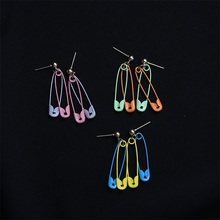Summer color zinc alloy paper clip geometry earrings, designed for ladies jewelry gifts fashion