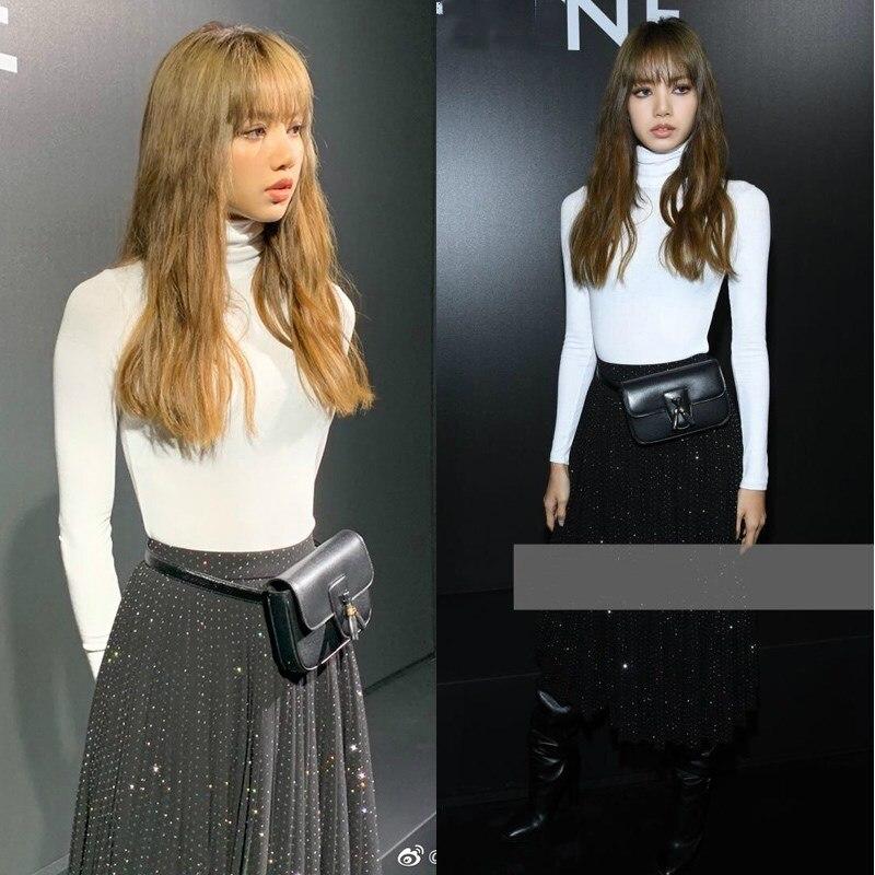 Kpop Blackpink Lisa Korean White Cotton Hoodies Sweatshirts Female Hip-Hop Streetwear Thin High Collar Sweatshirts Women Clothes