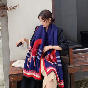Image 5 - Brand Designer Horse Printed Scarf Women 2020 New Animal Print Winter Cashmere Thick Warm Shawls and Wraps Pashmina Blanket Cape