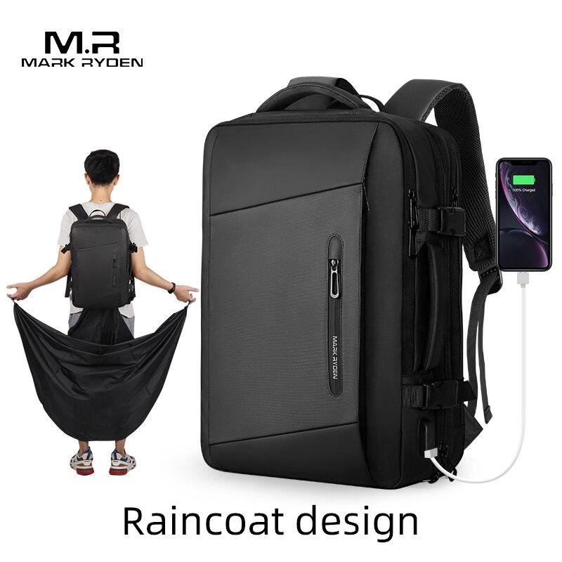 Mark Ryden 17 Inch Laptop Backpack Raincoat Male Bag USB Recharging Multi-layer Space Travel Male Bag Anti-thief Mochila